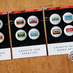 Cassette Tape badge set
