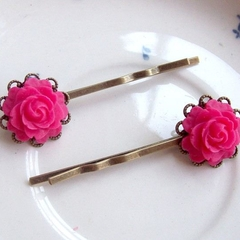 Charlize Bobby Pin Set Hair Clip Filigree Pink Flower Brass Vintage Style