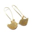Gold Mod Bird Earrings 14k Gold Fill Hooks
