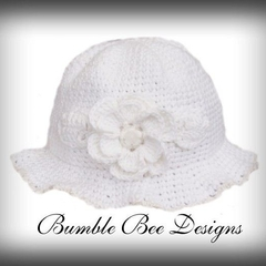 100% White Cotton Hand Crocheted Rose Hat