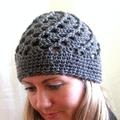 Bohemian Crochet Hat - pure wool - grey