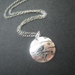 Round Songbird Pendant - Sterling Silver