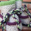 Wool Baby Booties - Toddler Slippers 3-10 mth - Light Natural/Lime/Navy/Grape