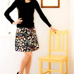 Black Skirt With Floral and Bird Print A-line Skirt