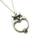 Antique Silver Mod Owl - On Sterlin Silver Chain