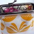 Brilliant Yellow Birds large coin purse, fits credit cards