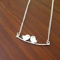 Love Birds on Branch Necklace - Kissing birds