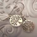 tree of life design earrings  silver tone earring circle charm