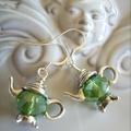TEAPOT EARRINGS crystal green colour or any colour you like earring