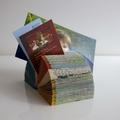 Folded Vintage Book Art -  Mini Desk Photo Business Card Desk Organiser