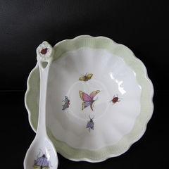 Bowl and spoon hand painted German porcelain