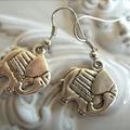 silver tone Elephant earrings charm earring elephants