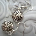 tree of life design earrings  silver tone earring circle charm
