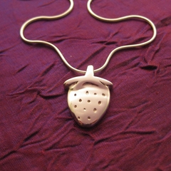 Strawberry - Handmade Sterling Silver Pendant with Snake Chain
