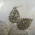 teardrop patterened  design earrings  silver tone earring