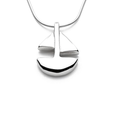 Sailboat - Handmade Sterling Silver Pendant with Snake Chain