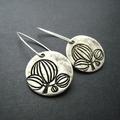 Flower Coin Disk Earrings Antique Silver Sterling Silver Hooks
