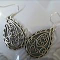 teardrop patterened  design earrings  silver tone earring
