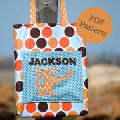 Library Tote Bag Pattern. PDF Sewing Pattern, School, Kindy, Personalised Bag
