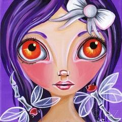 Art Print - My Little Dragonflies - by Jaz  8x8 Purple Dragonfly Fairy Painting