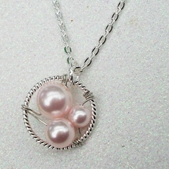 Generations Silver Pendant Grandma Mummy And Me - Pink Pearls