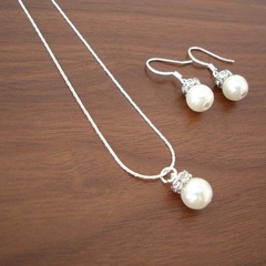 Popular Single Pearl Necklace and Earring Sets - Bridal or Bridesmaid