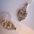 owl earrings silver tone  hoot hoot hoot earring owls