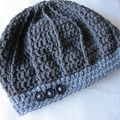 RESERVED Grey Button Beret - pure wool crochet beanie hat