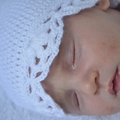 NB to 12M Crocheted hat with scolloped edge Custom Colour