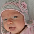 Crocheted Ear Flap hat with Flower |  Made to Order | Custom Colour | 9-12M