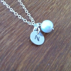 Hand stamped initial silver necklace - Personalised, Best Friend, Gift