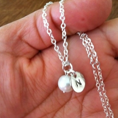 Hand stamped initial silver necklace with pearl or cz crystal birthstone