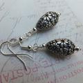 Silver Flower Etched Earrings