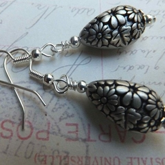 Silver Flower Etched Earrings