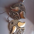 small dove bird silvertone or  bronze tone earrings charm earring  birds design