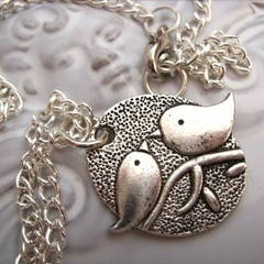 DOVE BIRD CHARM silver tone chain BIRDS NECKLACE