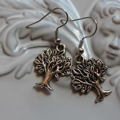 tree of life earrings silver  tone earring