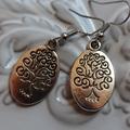 tree of life earrings silver  tone earring