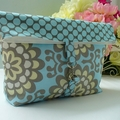 Foldover Nappy Pouch - Amy Butler Wallflower in Sky
