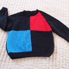 SIZE 4 : Hand knitted jumper, black, royal blue, red (unisex)