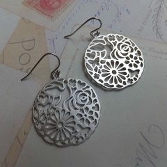 Rhodium Flower Disc Earrings