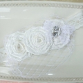 Premium Vintage Birdcage Veil Satin Rosettes Child Girls Headband