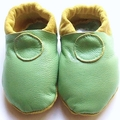 Leather 0-6m fresh green soft soled shoes