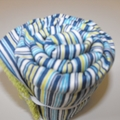 Baby Change Mat - Washable Towelling - Navy Lime Stripes