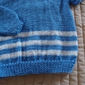 SIZE 2-3yrs Hand knitted jumper - blue & white (unisex), washable