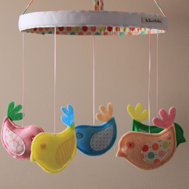 Pastel birds nursery mobile the bear the whale for Baby shapes mobile