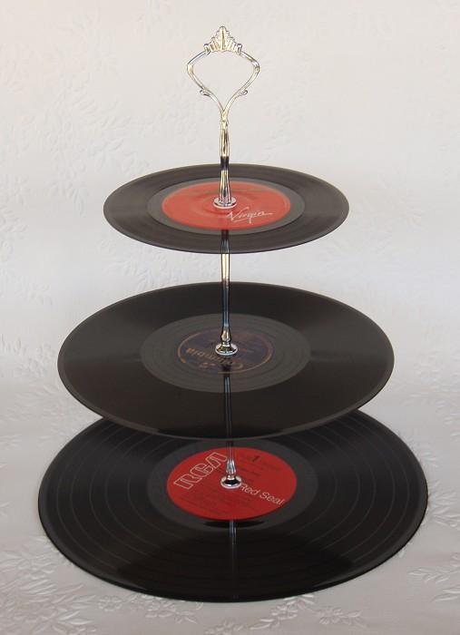 3 Tier Record Cupcake Stand Vinyl Record Cake Plates