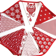 Christmas Bunting - Red Owl Nordic Scandi Style Flags. Xmas Party Decoration