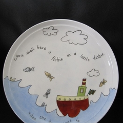 "Christening present Hand Painted plate, ""you shall have a fishie""!"
