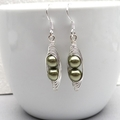 Two Peas In A Pod Silver Earrings You Choose The Colour.